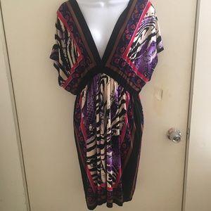 Snap boho animal print kimono dress XL